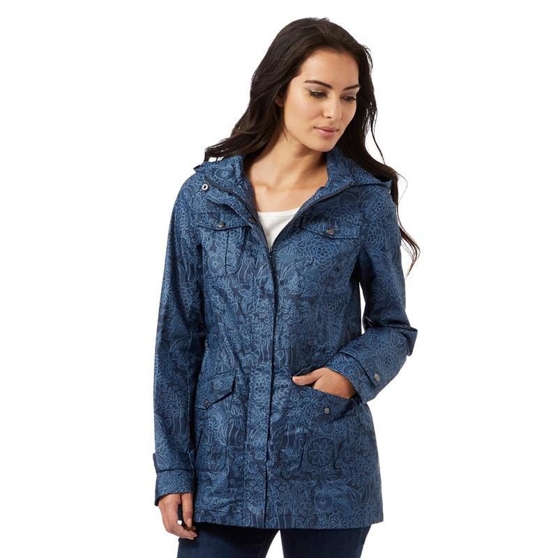 Mantaray Navy (Blue) Floral Print Shower Proof mac Coat,