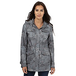 Mantaray - Grey shower proof dotted cloud print mac coat