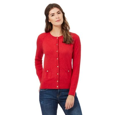 Mantaray Red cable knit sleeve cardigan