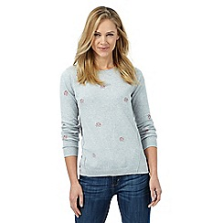 Mantaray - Grey embroidered flower jumper
