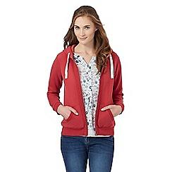 Mantaray - Red embroidered trim zip through hoodie