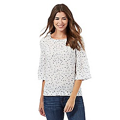 Mantaray - White three quarter sleeved patterned top