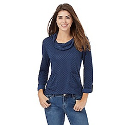 Mantaray - Navy textured cowl neck top