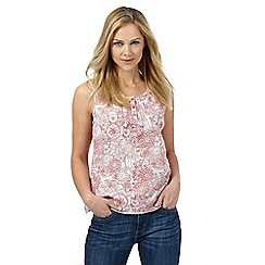 Mantaray - White and red floral print top