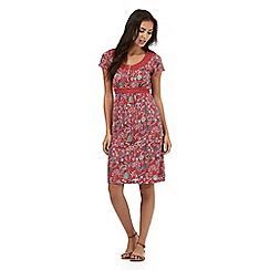 Mantaray - Red bird print jersey dress