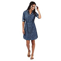 Mantaray - Blue bird print denim shirt dress