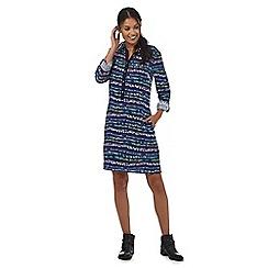 Mantaray - Navy splattered paint striped print shirt dress