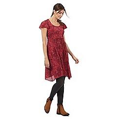 Mantaray - Red floral print hanky hem tea dress