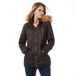 Mantaray - Brown faux fur trim parka coat