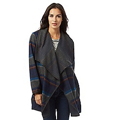 Mantaray - Grey and navy striped print blanket coat with wool