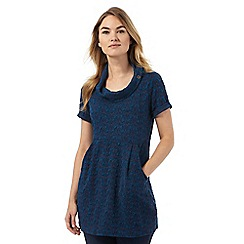 Mantaray - Blue jacquard cowl neck tunic