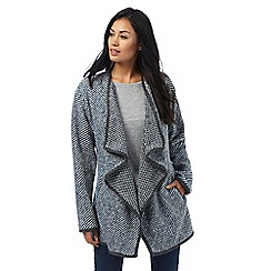 Mantaray - Blue knitted waterfall coat with wool