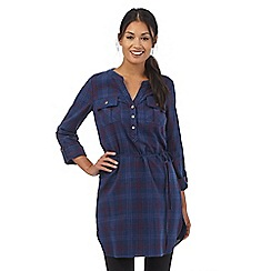 Mantaray - Navy checked belt tie waist tunic