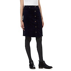 Mantaray - Navy button front corduroy A-line skirt