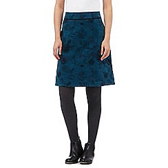 Mantaray - Dark turquoise printed moleskin skirt