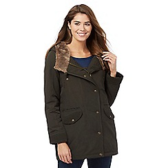 Mantaray - Khaki faux fur hooded parka