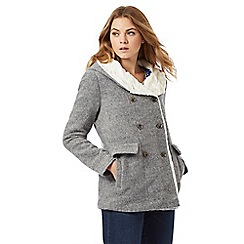 Mantaray - Grey faux fur lined blanket coat with wool