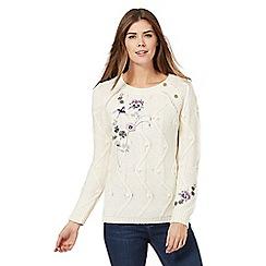 Mantaray - Cream embroidered bird jumper with wool
