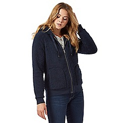 Mantaray - Navy fleece zip through hoodie