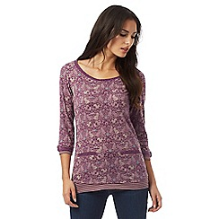 Mantaray - Purple woodland animal print mock top