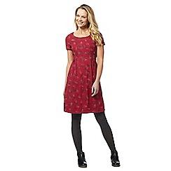 Mantaray - Dark pink stitched leaf dress