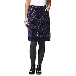 Mantaray - Navy snowflake print moleskin skirt