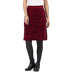 Mantaray - Dark pink leaf and owl print moleskin skirt