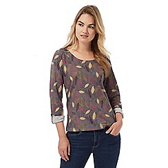 Mantaray - Grey leaf print long sleeved top