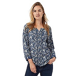 Mantaray - Navy floral print pleated front top