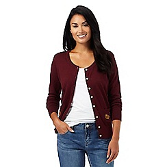 Mantaray - Dark red embroidered leaf pocket cardigan