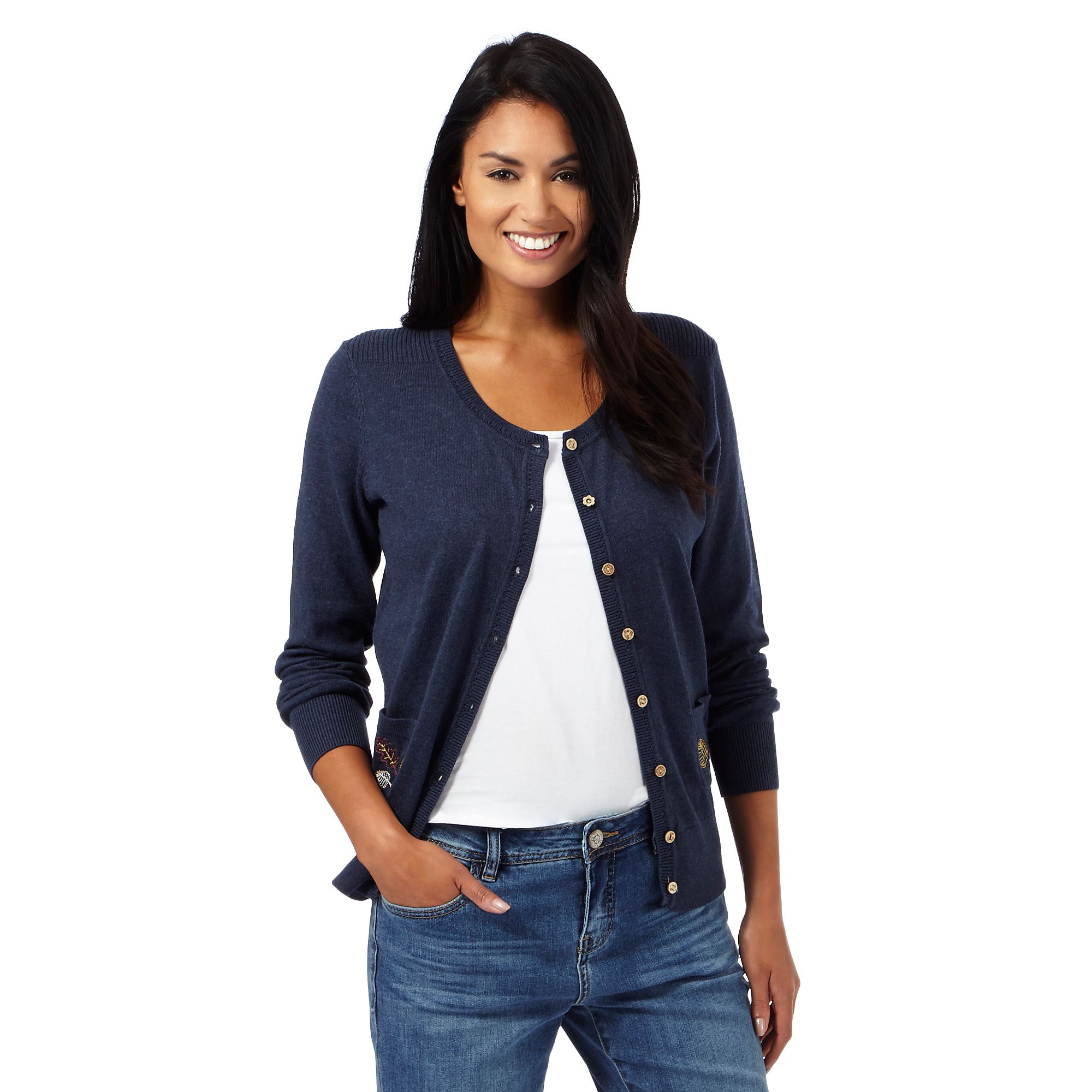 Mantaray womens navy embroidered leaf pocket cardigan from