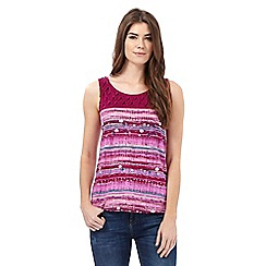 Mantaray - Dark pink printed pintuck yoke vest top