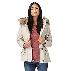 Mantaray - Cream faux fur parka jacket