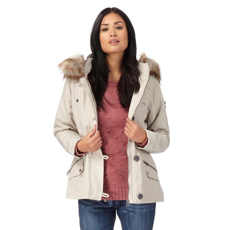 Plus Size Mantaray Cream (Ivory) Faux Fur Parka Jacket,