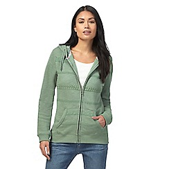 Mantaray - Green lace detail zip through hoodie