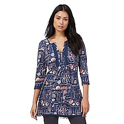Mantaray - Dark blue dot print tunic shirt