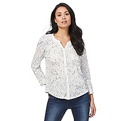 Mantaray - White floral honey bee print shirt