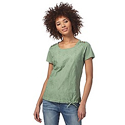 Mantaray - Khaki feather embroidered top