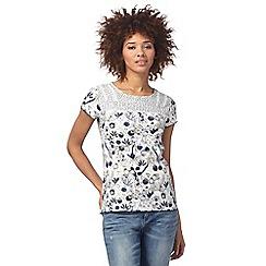 Mantaray - White and navy floral print top