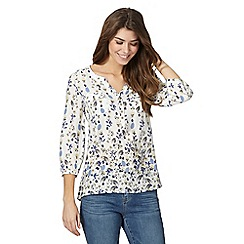Mantaray - White floral print notch neck shirt