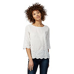 Mantaray - White embroidered top