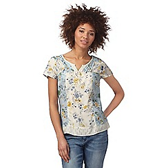 Mantaray - Cream and light blue floral print top