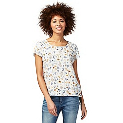 Mantaray - White mushroom print t-shirt