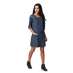 Mantaray - Blue striped chambray shift dress