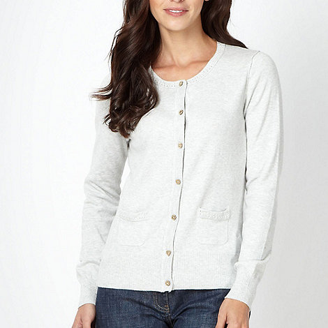 Mantaray - Light grey crochet trimmed cardigan