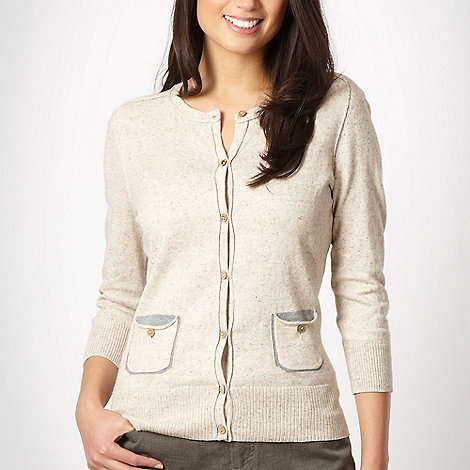 Mantaray - Natural curled seamed cardigan