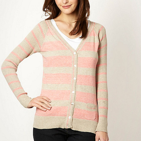 Mantaray - Light peach striped cardigan