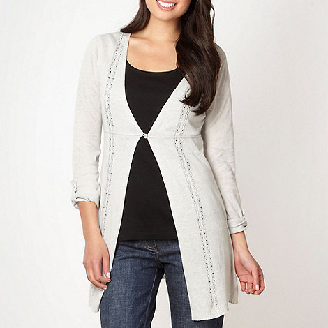 Mantaray - Light grey pointelle knit cardigan