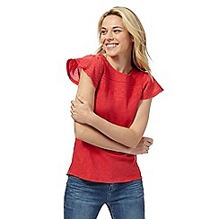 Mantaray - Red broderie yoke flute sleeved top