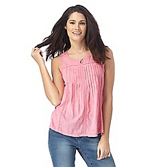 Mantaray - Pink leaf embroidered sleeveless top